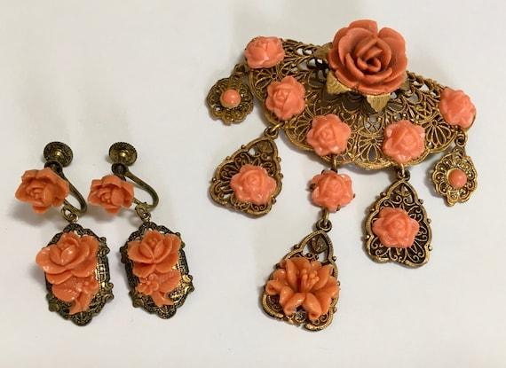 Vintage 1920s Art Deco Filigree Celluloid Pastel Celluloid Dangle Flower Charms Bracelet Brooch Set Pastel Yellow Pink Green  Purple