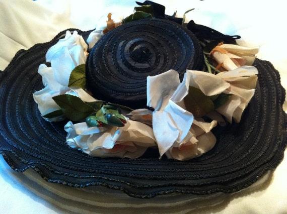 Beautiful Sheer Black Sun Hat – Pink Silk Roses –… - image 2