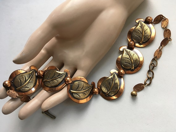 Mixed Metal Mid Century Leaf Necklace \u2013 Copper and Brass Leaves Choker \u2013 1950s