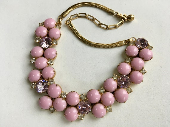Hobe Necklace – Pink Cabochons Lavender Rhinestone