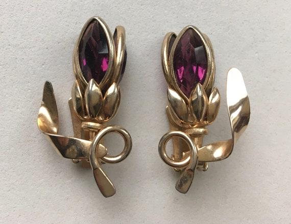 Bezel Set Purple Glass Tulip Earrings – Retro Clip