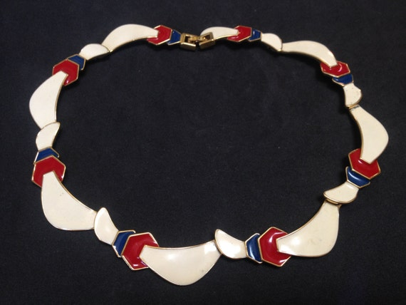 Art Deco Style Monet Enamel Choker Necklace – Red