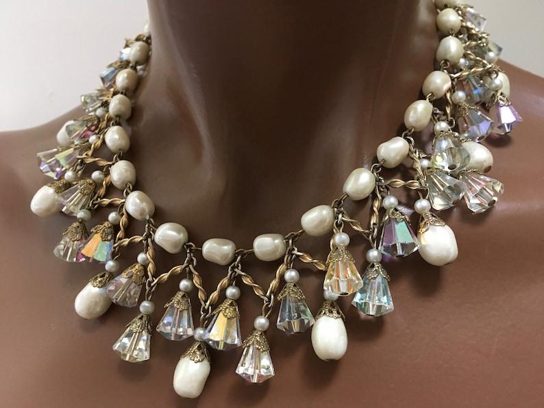 Vendome Crystal Pearl Drippy Fringe Collar Necklace \u2013 High End Costume \u2013 1950s Jewelry