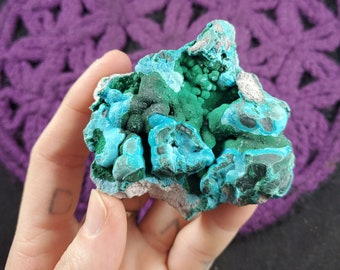 Botryoidal Malachite Chrysocolla Crystal Specimen Rough Stones Dark Green Blue Raw Crystals Congo Africa