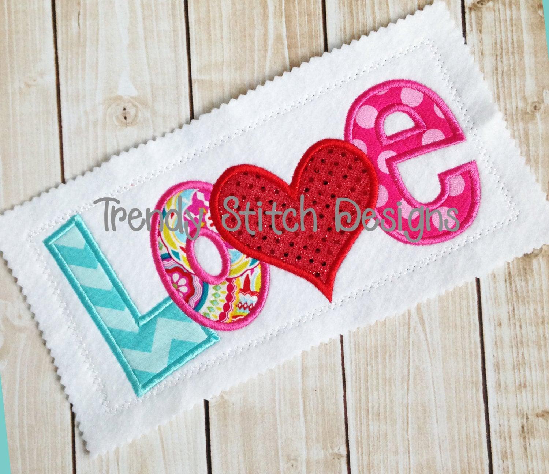 Love Applique Machine Embroidery Design Instant Download Etsy