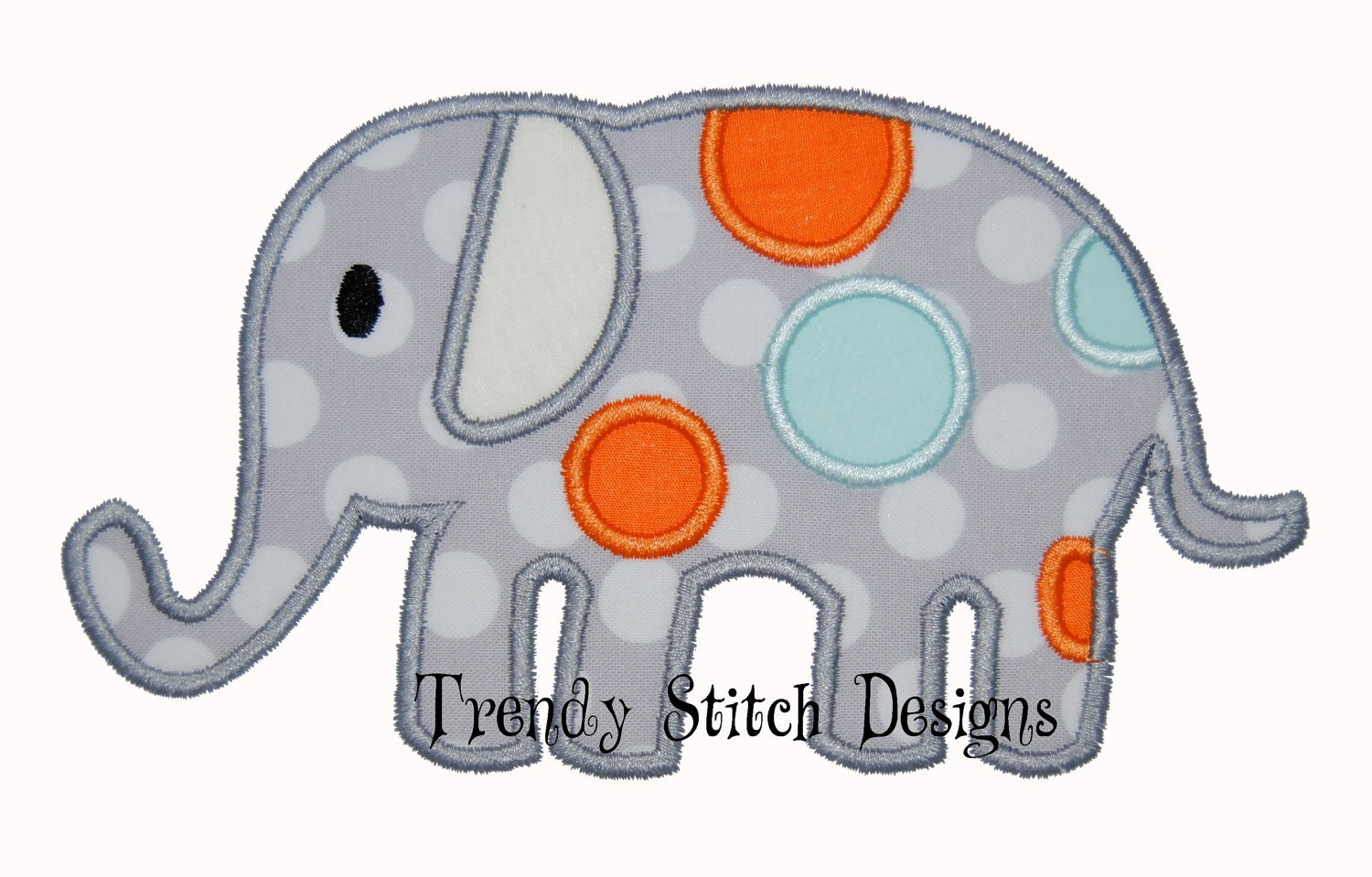 Spotted Elephant Applique Design Machine Embroidery Design