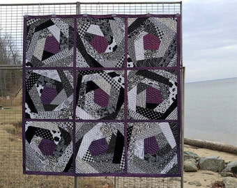 Crazy Quilt Black, White and Purple Mylar