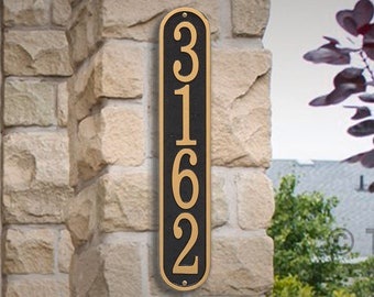 Vertical House Number sign - Personalized Metal Cast Aluminum Sign with Your Street Address. House Number