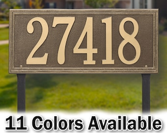Large Rectangular House Number sign with stakes - Personalized Metal Cast Aluminum Sign with Your Street Address