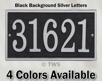 Personalized Rectangle Metal House Number Plaque With Up To Five Four Inch Numbers