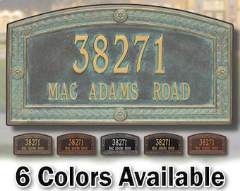 Large Hamilton Style House Address Sign Plaque - Large Personalized Cast Arch Plaque - 2 Lines - Custom House Number Sign - Aluminum Cast