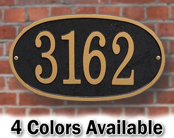 Oval Metal House Number Plaque With Hardware - Sign Personalized With Your House Number