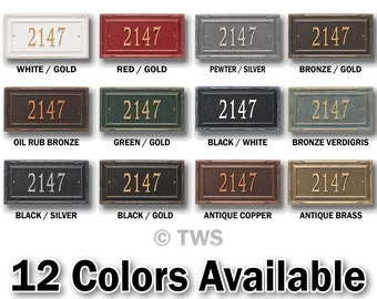 Personalized Large Rectangular Plaque With Decorative Edges -  Metal Address Plaque - Street Number - Custom House Number Sign