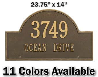 Personalized Arched Aluminum Estate Wall Plaque - Two Lines - Large Personalized Metal Cast Sign with Your Street name & House Number