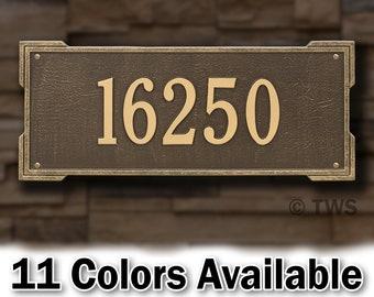 Estate Size Large Metal Rectangle Address Plaque - Personalized Cast Rectangular Plaque - Custom House Number - Cast In Solid Aluminum