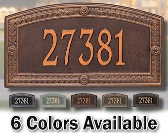 Large House Address Sign Plaque - Large Personalized Cast Arch Plaque - 1 Line - Custom House Number Sign - Aluminum Cast