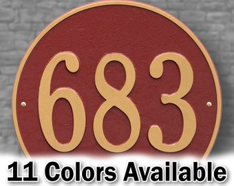 Round Traditional House Number Sign - Personalized Large Metal Cast Aluminum Sign with Your House Number -  Large 15 Inches Round