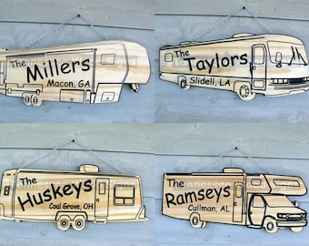 Personalized RV Camper Signs - This is a Camping Sign with Family Name-5th Wheel, Class A, Class C or Travel Trailer-Camp Ground-Gift-RV
