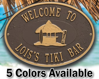 Personalized Tiki Hut Bar Plaque - Welcome Sign - Small Custom Cast Oval Metal Sign - 2 Lines with Tiki Hut Graphic