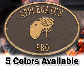 Personalized Charcoal Grill BBQ Plaque - Welcome Sign Cookout - Small Custom Cast Oval Metal Sign - 2 Lines with Charcoal Grill Graphic