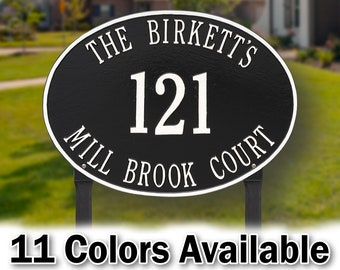 Personalized Oval Aluminum Estate Plaque - 3 Lines - Personalized Metal Cast  Sign with Your Last Name, Street Name & House Number