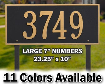 Lawn Mounted  Large Metal Rectangle Address Plaque - Personalized Cast Rectangular Plaque - Custom House Number Cast In Solid Aluminum