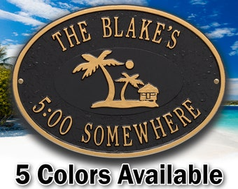 Personalized Island Time Palm Plaque - Welcome Sign - Small Custom Cast Oval Metal Sign - 2 Lines with Island, Tiki Hut and Palm Graphic