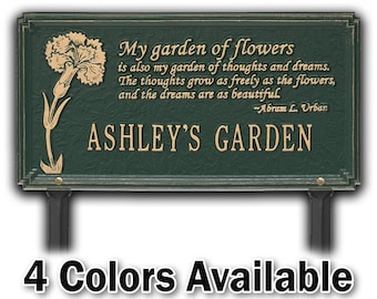 Custom Cast Aluminum Dianthus Garden Staked Sign - Custom Lawn Plaque - Moms Garden - Dads Garden - Garden Marker Stake - Gardener Gift