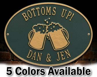 Personalized Beer Mugs Plaque - Welcome Sign Brewery - Small Custom Cast Oval Metal Sign - 2 Lines with Bear Mugs Graphic