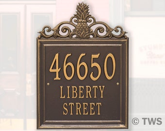 Pineapple House Address and Street Number Sign - Personalized Metal Cast Aluminum Sign with Your Street Address. House Number