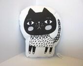 Pout face Black Cat pillow (full body)