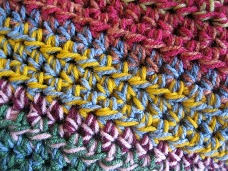 Colorful Crochet Scrap Yarn Afghan