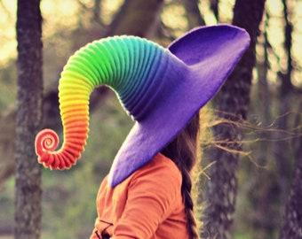 "Costume Hat. ""Reverse Rainbow"" Witch Hat. Wizard Hat. Fantasy Hat. Cosplay Hat. LARP."
