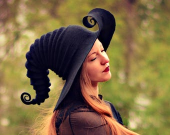 Costume Hat. Curled Brim Witch Hat. Wizard Hat. Fantasy Hat. Cosplay Hat. LARP.