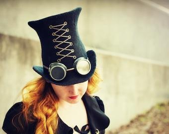 "Costume Hat. ""Black"" Steampunk Hat. Mad Hatter Hat. Fantasy Hat. Cosplay Hat. LARP."