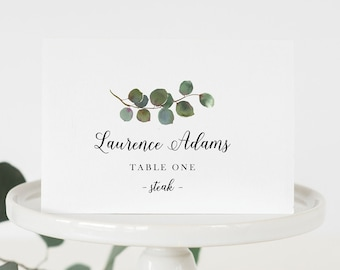 Folded Place Cards with Meal Choice, Greenery Seating Cards, Eucalyptus Place Cards Printed and Folded