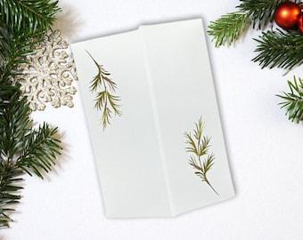 Winter Greenery Vellum Jackets For 5 x 7 Wedding Invitations, Christmas Pine Vellum Jacket, Printed Greenery Vellum Jacket