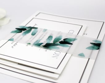 Greenery Vellum Belly Bands for 5 x 7 Invitations and Cards, Printed Greenery Wedding Invitation Bands