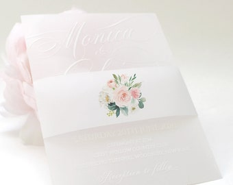 Blush Vellum Belly Bands, Floral Vellum Wrap, Wrap for 5 x 7 Invitations, Wedding Invitation Vellum, Blush Belly Band for Invites