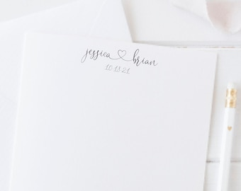 Personalized Engagement Gift for Couple, Bridal Gift, Couples Note Card Set