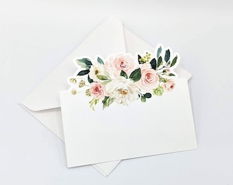 Floral Gift Cards for Wedding, Events, and Bridal Showers, Blush Floral Die Cut Gift Cards with Mini Handmade Envelopes