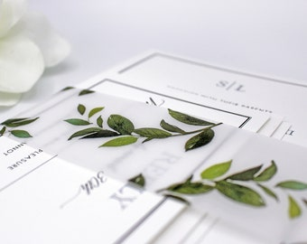 Forest Leaf Vellum Belly Bands for 5 x 7 Invitations and Cards, Printed Greenery Wedding Invite Bands
