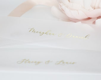 Foil Vellum Belly Bands, Gold Foil Belly Bands, Personalized Belly Band for 5 x 7 Invitations, Gold Belly Bands for 5 x 7 Invitations