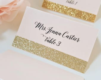 Gold Glitter Wedding Place Cards, Blush and Gold Place Card, Seating Cards, Name Cards, Blush and Gold Glitter Placecards, FREE SHIPPING