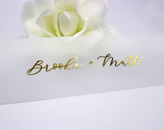 Gold Foil Vellum Belly Bands for 5 x 7 Invitations and Cards, Vellum bands with Names Printed on Vellum