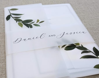 Pack of 20 Minimalist Design Personalized Wide Translucent Vellum Belly Bands