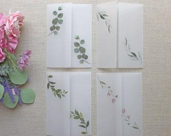 Sample Vellum Jackets, Greenery Vellum Wrap For 5 x 7 Invitations, Diy Wedding Invite Supplies, Set of 4 Greenery Vellum Samples
