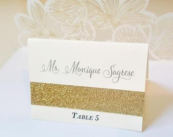 Glitter Gold Wedding Place Cards, Gold Glitter Place Cards, Seating Cards, Name Cards, Cream and Gold Glitter Placecards, FREE SHIPPING