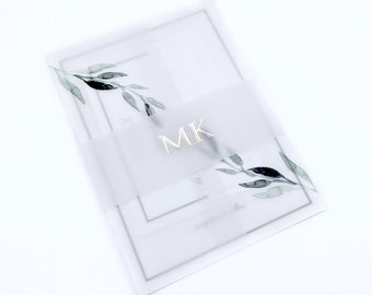 Silver Foil Vellum Band, Belly Band in Silver Foil, Monogram Belly Band for 5 x 7 Invitations, Vellum Wedding Wraps for 5 x 7 Invitations