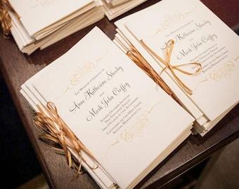 Wedding Booklet Catholic Wedding Program Gold Wedding Programs Jewish Wedding Program Printed Program Interfaith Gold Booklet Program